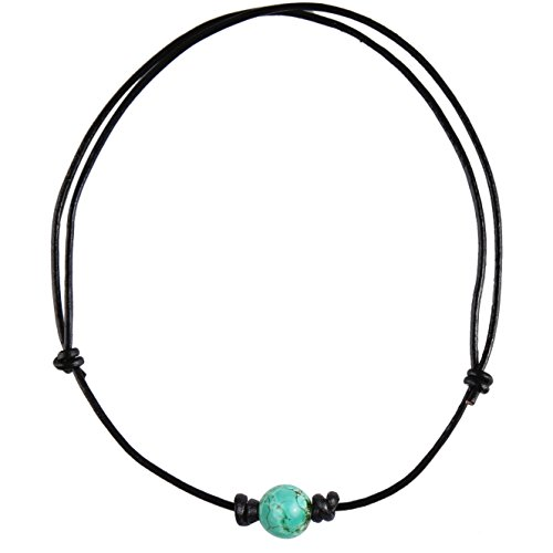 Barch Single Turquoise Choker Necklace on Black Leather Cord (Big Turquoise (Big Turquoise Necklace)