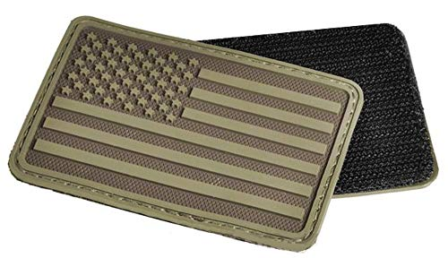 - Morton Home US Flag Rubber Hook and Loop Patch (Left Arm/Coyote)