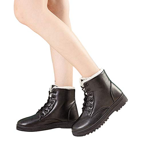 Vuticly Snow Platform Womens Boots Round Flat Combat Winter Waterproof Black Boots lace Toe up Shoes rtAtwqx