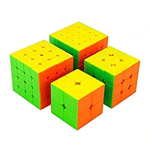 HJXD global Cube Classroom Magic Cube Set 4 Pack 2x2x2 3x3x3 4x4x4 5x5x5 Stickerless Cube True Color Gift Package