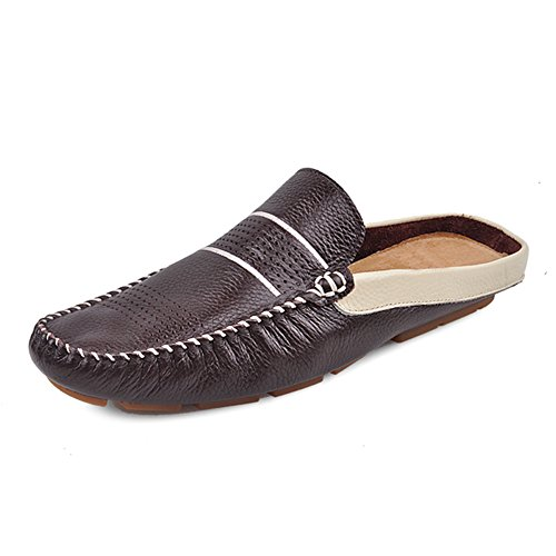 on Shoes Comfortable Coffee Santimon Leather Men's Scuff Slippers Slip Loafters Soft AzvZz7