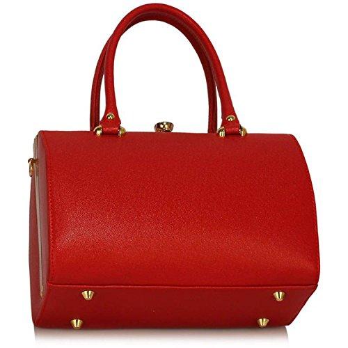 Xardi London barile Frame designer borsone da donna in pelle sintetica borse a tracolla borse UK Red