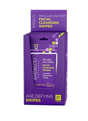 Andalou Naturals Age Defying Micellar 12 Facial Swipes (Pack of 6), Natural Makeup Wipes with Micellar Water for Easy Face Cleansing and Makeup Removal