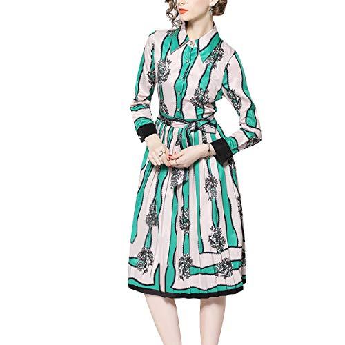 Alta Rayas De Cintura Solapa Vestido Botón Florales Plisado Corbata Mujer Swing Green Vintage wgOBW