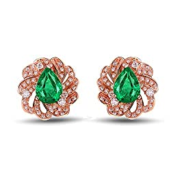 Natural Emerald Hoop Studs with Diamonds