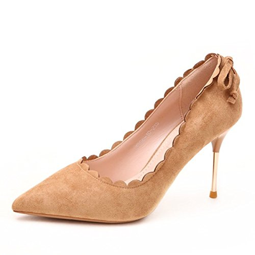 Beige Lace Heel Olici MDRW Single Leisure Spring Elegant Shallow 36 Head Lady Heels Fine Work Waves Shoes Mouth Sharp Suede 10Cm ZH7wrdZqx