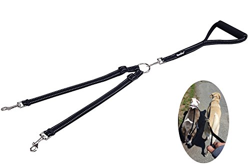 PUPTECK Reflective Double Dog Leash No Tangle with Handle Dual Nylon Lead Black for Small Large Dogs Walking