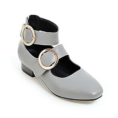 BalaMasa Womens Toggle Dance-Ballroom Casual Gray Urethane Pumps Shoes APL10667-4.5 B(M) US