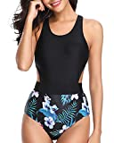 Tempt Me Women One Piece Tropical Print Swimsuit Cutout Monokini White Flower L