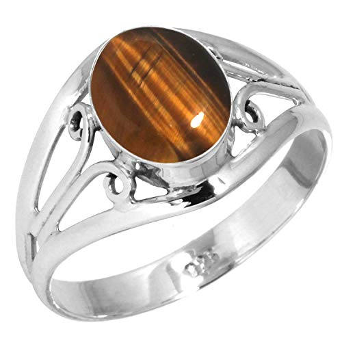 Oval Tigers Eye Cabochon Ring - Natural Tiger Eye Ring 925 Sterling Silver Handmade Jewelry Size 8