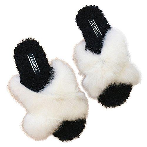 CYBLING Fluffy Open Toe Slippers Women Non-Slip Soft Faux Fur Slide Slip On Flats Shoes White jDcT6ma