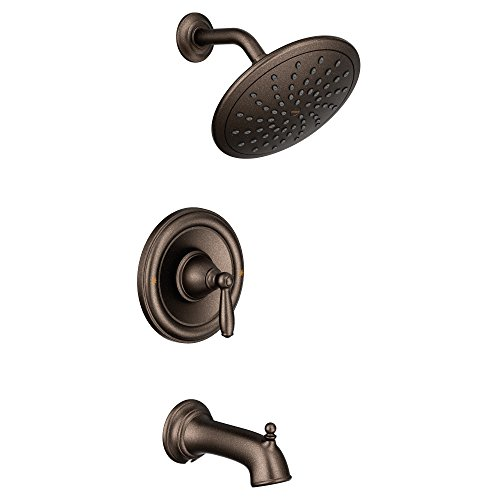 Moen T2253EPORB Brantford Posi-Temp Tub and Shower Trim Kit, Valve Required, including 8-Inch Eco-Performance Rainshower, Oil Rubbed Bronze (Moen Tub Shower Trim Kit Oil Rubbed Bronze)