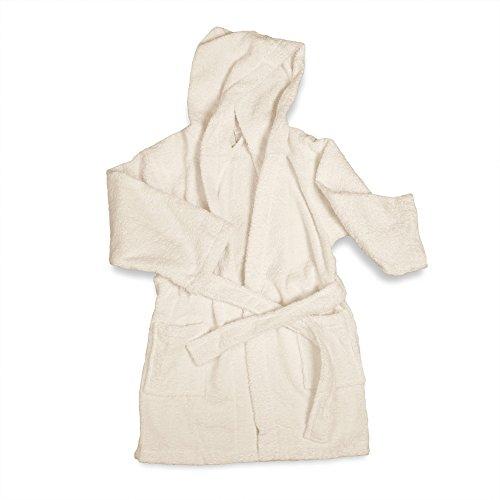 eLuxurySupply Little Girls Terry Cloth Hooded Bath Robe, SM/MD, Ivory