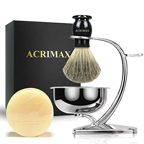 ACRIMAX Shaving Kit for Gentleman Wet Shave, Durable Stainless Steel Stand, Shaving Soap Cream, Black 100% Pure Badger Shaving Brush Best Gift Set for Man