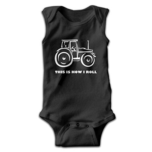 FTDewQ90 Baby Boys This is How I Roll Farming Farmer Tractor Sleeveless Climbing Clothes Bodysuits Onesies Suit 0-24 Months Black -