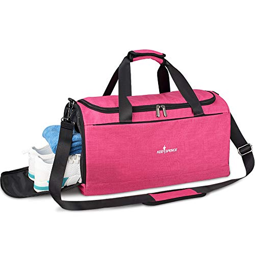 Gym bag for Women with Shoe Compartment and Wet Pocket, Travel Duffle Sports Gym Bag for Girls Ladies (Shock Pink)