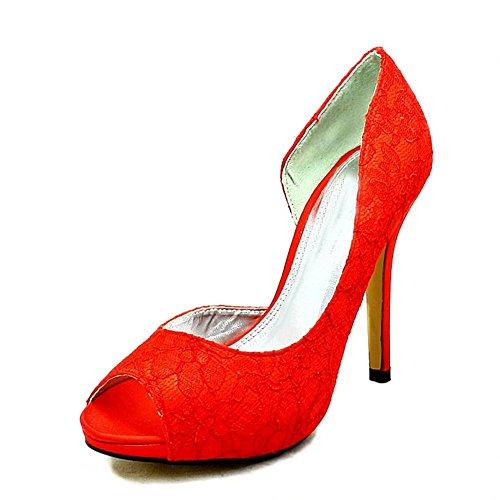 Rojo Encaje Cubierto abierta lado y a Tacón Alto Dama Honor Zapatos