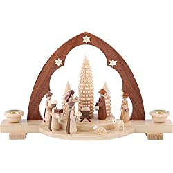 German candle arch Nativity scene with manger, length 30 cm / 12 inch, natural, original Erzgebirge by Mueller Seiffen MU 12314