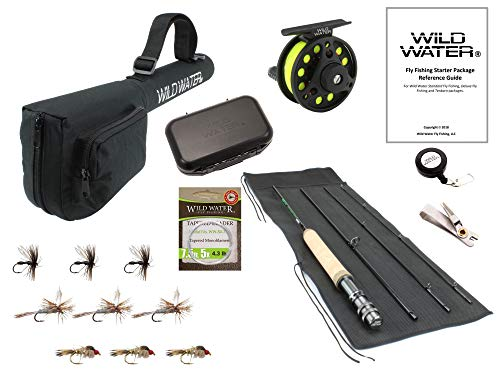 Wild Water Fly Fishing 5 Foot 6 Inch, 4-Piece, 3-Weight Fly Rod Complete Fly Fishing Rod and Reel Combo Starter Package