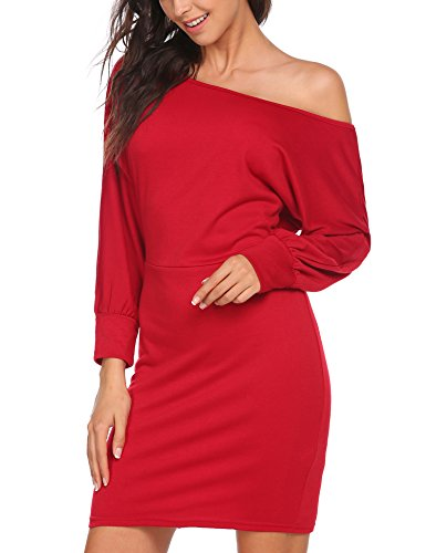 Vestito Sexy Spalla Pacchetto Collare Obliquo Casuale Rosso Dell'anca Freddo Una Acevog Vino Donne Del qUAfwvnwxp