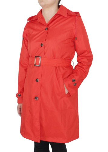 Capelli New York Ladies Solid Trench Rain Coat with Belt Riverside Red Medium