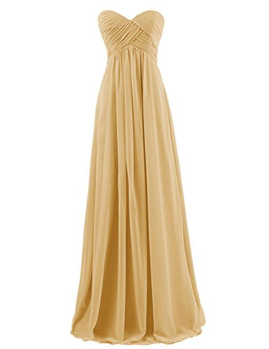 ted Chiffon Prom Evening Dress Bridesmaid Party Gown Gold US14 (Chiffon Prom Evening Gown)