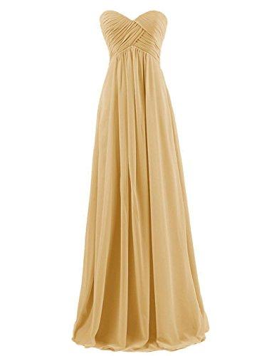 ted Chiffon Prom Evening Dress Bridesmaid Party Gown Gold US14 (Chiffon Prom Evening Gown)