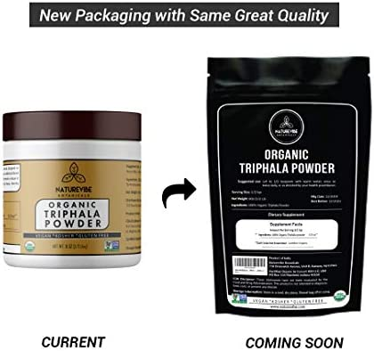 Naturevibe Botanicals USDA Organic Triphala Powder 8 Ounces – Ayurvedic Formula for Detoxification Rejuvenation – 100 Pure Natural Supports Immune System