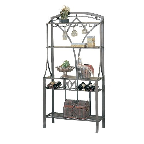 Bronze Dining Room Bakers Rack (Poundex Vella Collection Wine Rack)