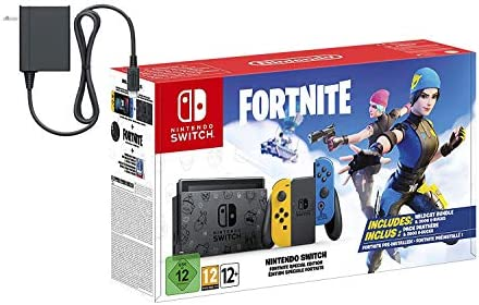 Nintendo Switch Console Fort - Nite Wildcat 2020 Holiday Special Edition - 32GB Unique Switch Console, Wildcat Outfits, 2000 V Bucks, US AC Adapter, Mytrix 128GB MicroSD Card and Adapter