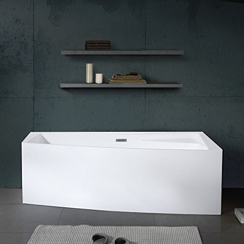 MAYKKE Encino 70u0027u0027 Modern Rectanglar Acrylic Bathtub | Unique Corner Rim  For Storage,