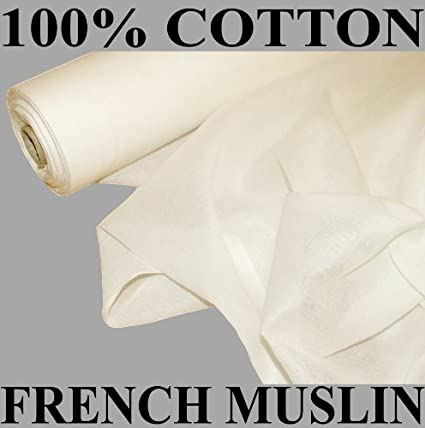 50 Metre Roll Of French 100/% Cotton Muslin Voile Fabric Curtain White