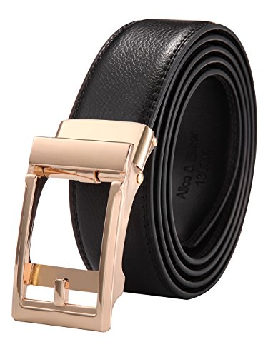Alice & Elmer Men's Ratchet Dress Genuine Leather Belts With Gold Automatic Buckle