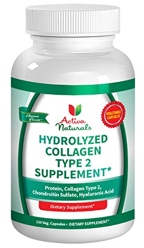 Hair Vitamins 37 Formula (Activa Naturals Collagen Type 2 Hydrolyzed 1000mg Supplement with Chondroitin Sulfate & Hyaluronic Acid - 120 Veg. Caps)