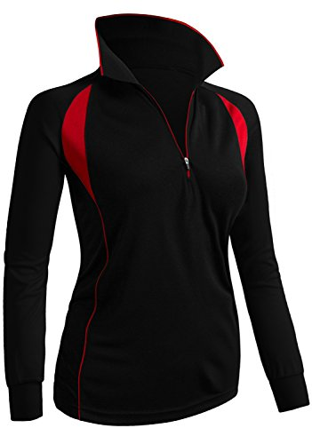 CLOVERY Women's ActiveWear POLO Shirt Long Sleeve Zipup