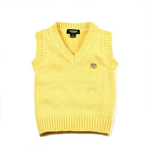 Baby Boys Girls Toddler V-Neck Solid Color Pullover Sweater Students Vest 6T Yellow