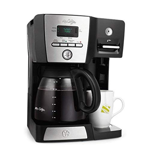 Mr. Coffee BVMC-DMX85 - 12-Cup Programmable Coffeemaker with Integrated Hot Water Dispenser - Black/Chrome ()