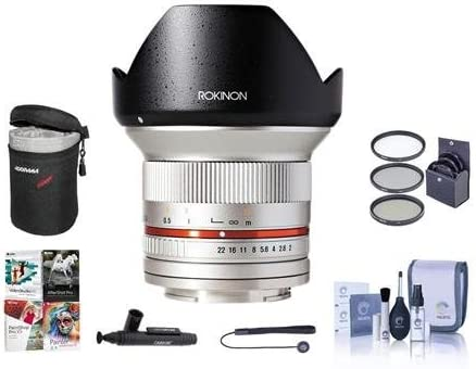 Rokinon 12mm F//2.0 Ultra Wide Lens Case Bundle with 67mm Filter Kit Cleaning Kit Capleash II Lenspen Lens Cleaner PC Software Package Silver Manual Focus Lens for Fujifilm X Mount
