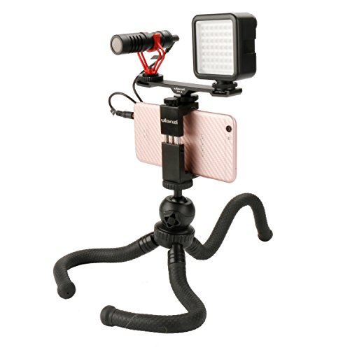 (Flexible Tripod Vlogging Kit - BY-MM1 Microphone+49 LED Video Light+PT-2 Cold Shoe Bracket+ST-02S Metal Phone Tripod Mount + Octopus Tripod, Universal Kit for Smartphone Youtube Facebook Livestreaming)