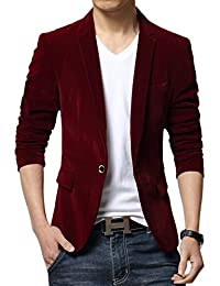 Liveinu Men's Velvet Peak Lapels 1 Button Blazers