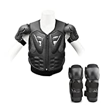 Ediors® Kid Youth Breast Plate Chest Protector Motocross Racing Skiing Skating Body Armor Vest + Knee/Shin Guard safety Pads Sports Children Black (Chest Protector + Knee Pads)