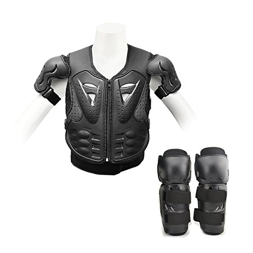 Ediors® Kid Youth Breast Plate Chest Protector Motocross Racing Skiing Skating Body Armor Vest + Knee/Shin Guard safety Pads Sports Children Black (Chest Protector + Knee (Chest Plate Armor)