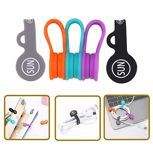 SUNFICON Magnetic Cable Organizers Cable Clips Earbuds Cords Winder Bookmark Clips Whiteboard Noticeboard Fridge Magnets USB Cable Manager Ties Straps for Home,Office,School 5 Pack Assorted Colors
