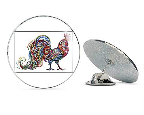 Beautiful Artistic Colorful Pattern Rooster Cartoon - Dark Round Metal 0.75