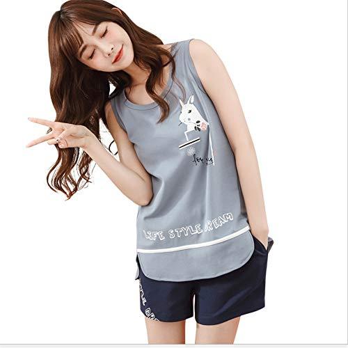 Donna Korean Fresh Set Summer Sweet Girl Service Student Cotton Sleeveless A Home Pyjamas Da Zybnb xSX0q8Sp