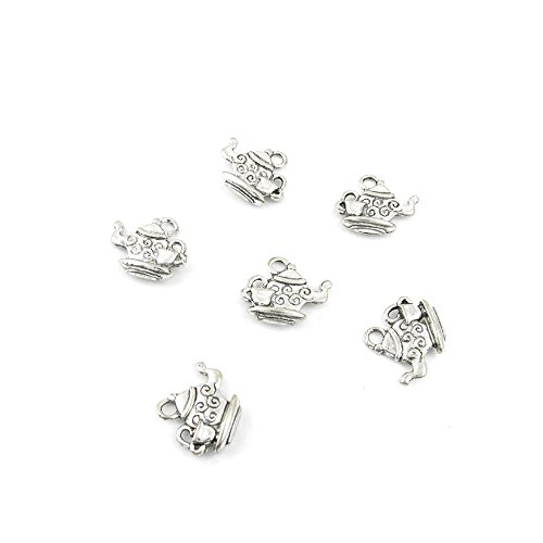 (20 x Antique Silver Tone Jewelry Making Charms Findings Handmade Necklace Bracelet Bulk Lots Supplier Supply Crafting H0352 Teapot)