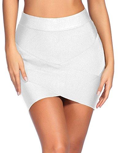 iFashion Women's Sexy Rayon Bandage Bodycon Party Mini Skirt Medium White