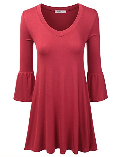 Doublju Bell Sleeve Deep V-Neck Loose Fit Flared Dress (Made In USA / Plus size available) RED 2XL