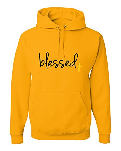 (Small Gold Adult Blessed Christian Humble Sweatshirt)