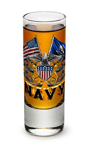 Shot Glasses – United States Navy Gifts for Men or Women – US Navy American Soldier Shot Glasses – Double Flag Eagle Navy Shield Glass Shot Glass (2 - Navy Us Glasses